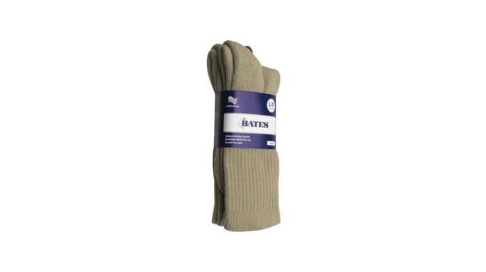 Bates Footwear Athletic Performance Crew Khaki 2 Pk Large Socks