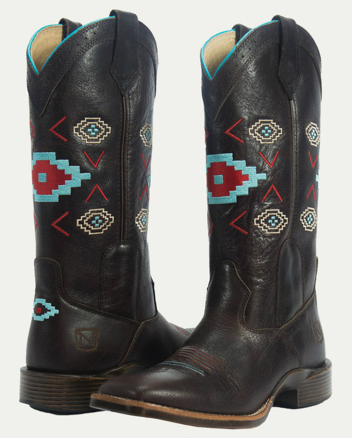 Noble N66026-127 Womens Vintage Brown Aztec All-Around Square Toe Boot