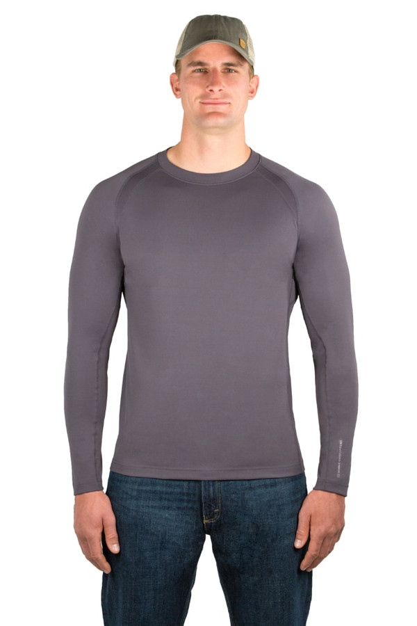 Noble Outfitters 11503-015 Mens L/S Athletic Kinetic Crew Asphalt Shirt