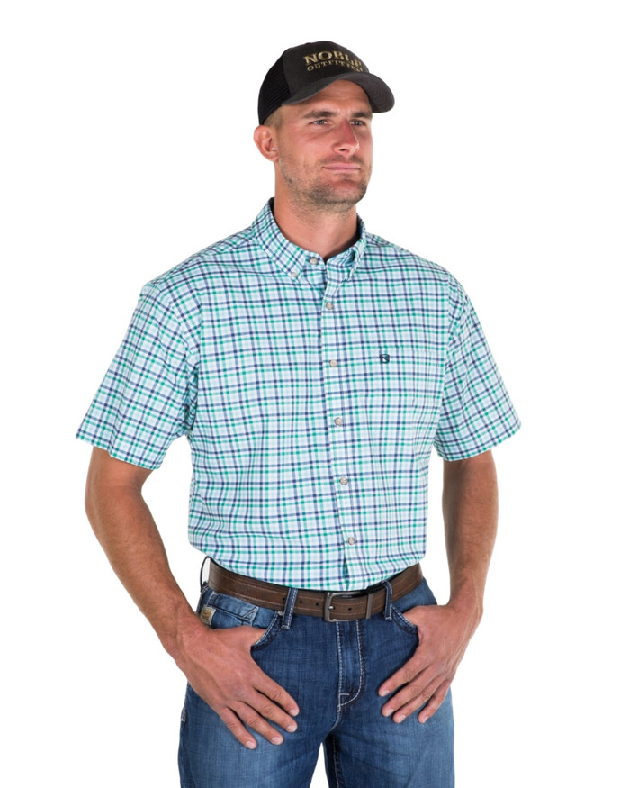 Noble Outfitters 12000-785 Mens Blue Generation Oxford Check Short Sleeve Shirt