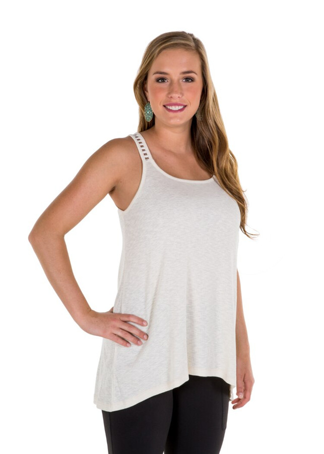 Noble Outfitters 20519-011 Womens Madeline Lace Up Tank Cream Shirt