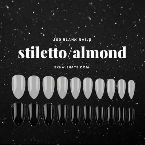 Stiletto/Almond Blank Tips | Bag of 500