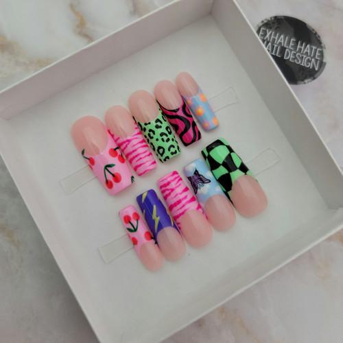Long Square Kardashian style glue on gel nails in trendy multi pattern design