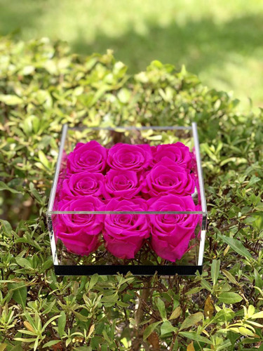 9 Rose Acrylic Box Arrangement