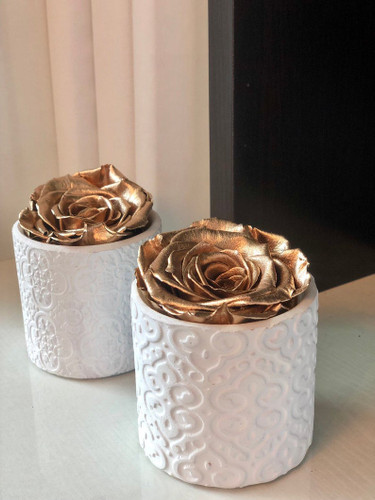 Art Deco Vase with a Single Preserved Rose