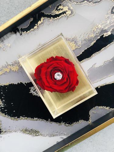 Premium Gold Acrylic with Single Rose
