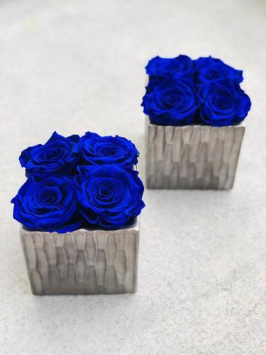 Gray Ceramic Vase with Eternity Roses
