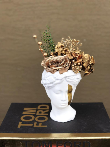 Venus Statue Planter with Gold Preserved Rose