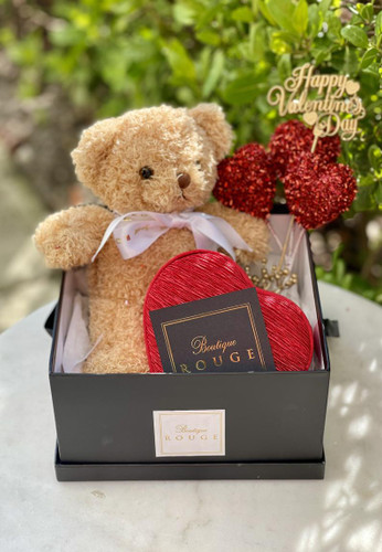 Valentines Gift Box with Preserved Roses and Teddy Bear