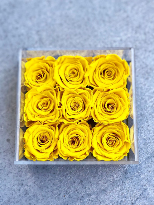 9 Rose Acrylic Box Arrangement