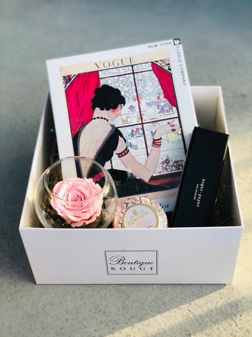 customized gift box with vogue , candle and preserved, eternity rose