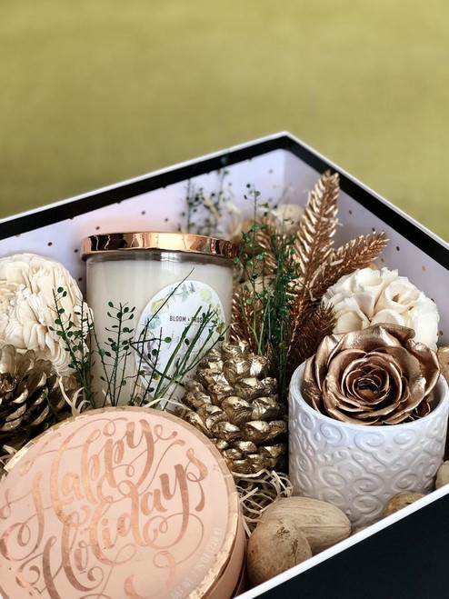 holiday customized gift box with preserved rose and candle