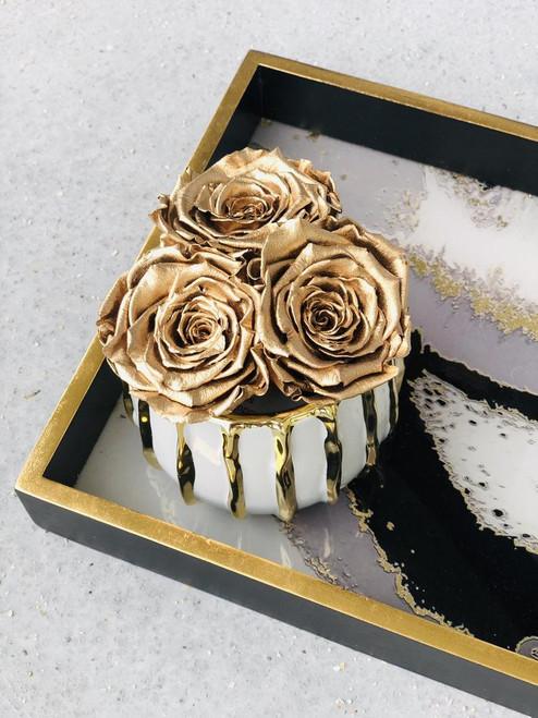 Gold Stripe Ceramic Vase with Preserved Roses
