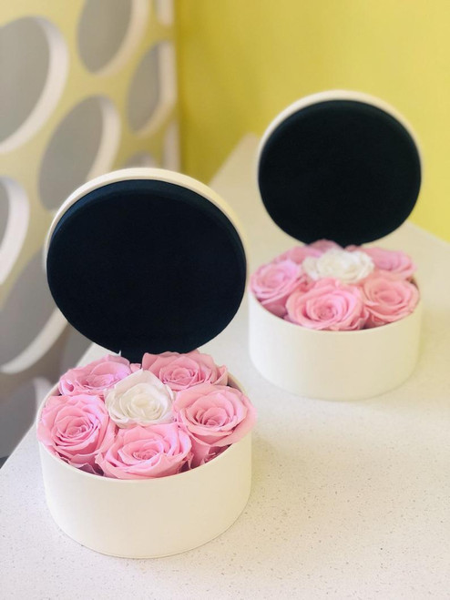 White Luxury Leather Box with Preserved Roses