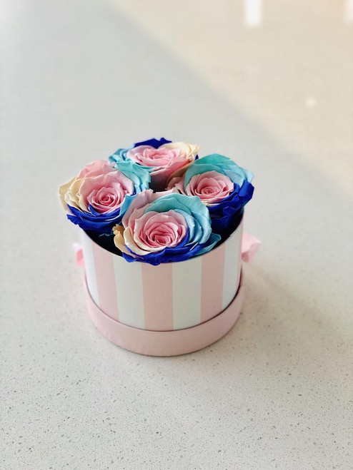 Unicorn Roses in a Pink Striped Box