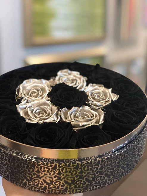 Black Hat Box with Black & Silver Roses