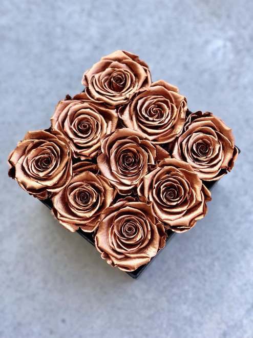 9 Copper Roses In a Black Box