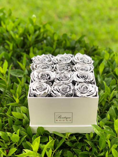 Eternity Roses in a White Square Box