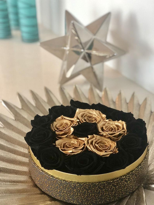 Black Hat Box with Black & Gold Roses