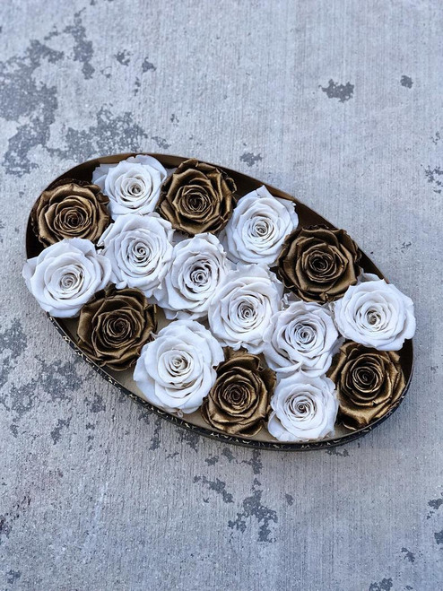 Oval Designer Box with Gold and White Roses