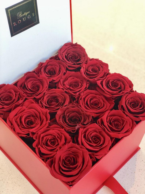 Red Square Box with Red Roses