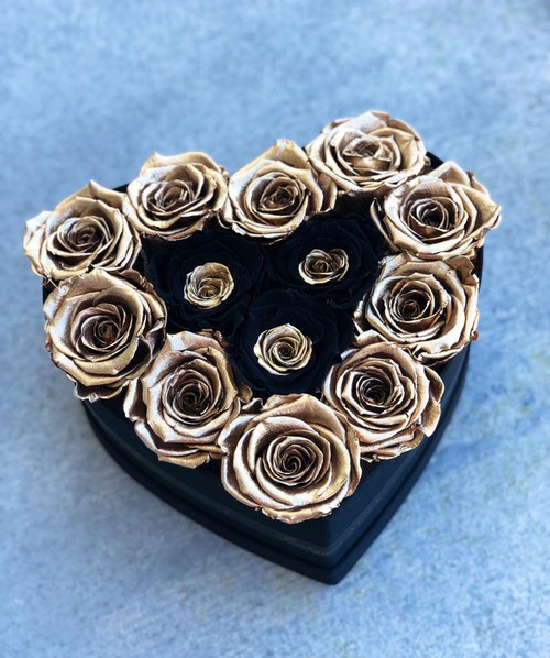 Heart Shaped Box with Gold and Black Roses
