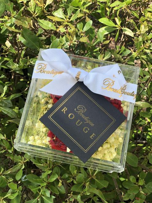 Garden Roses in an Acrylic Box