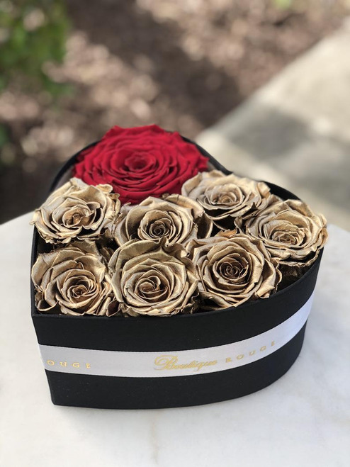 Heart Shaped Box with Gold Eternity Roses