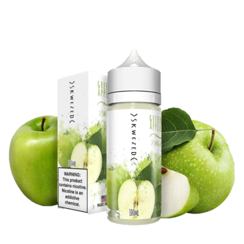 The Skwezed Green Apple eliquid is a sweet-crsip granny apple freshly picked from an apple tree.