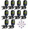 Front Row Chromatic Clip-on Guitar Tuner 360-Degree Screen w/ Picks - 10 Pack