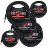 Image of Pig Hog PCH10BKR Black Woven Instrument Cable, Right Angle - 10ft (5-Pack)