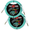 Pig Hog PCH10SG  Seafoam Green  Instrument Cable - 10ft (2-Pack)