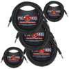 Pig Hog PCH20BK Black Woven Instrument Cable, Right Angle - 20ft (5-Pack)