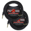 Pig Hog PCH20BKR Black Woven Instrument Cable, Right Angle - 20ft (2-Pack)