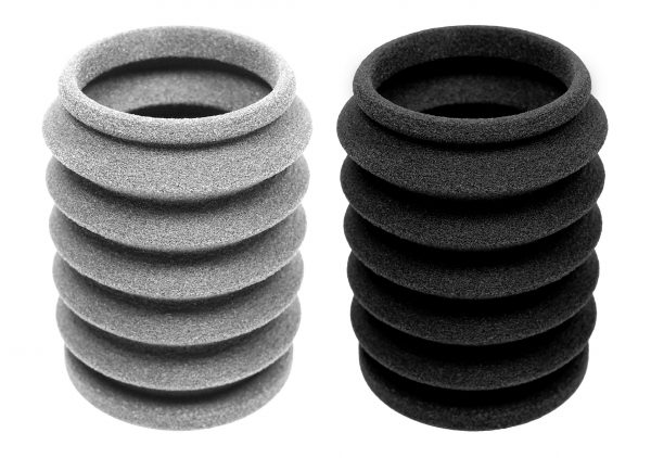 A sample part uncoated (left) and coated with the TPE sealer (right)