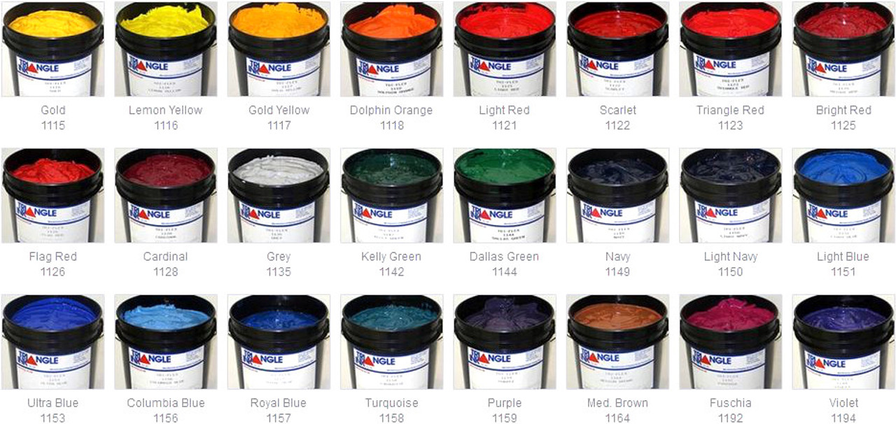 Triangle Ink Tri-Flex 1100 Series Multi Purpose Screen Printing Ink Standard Colors
