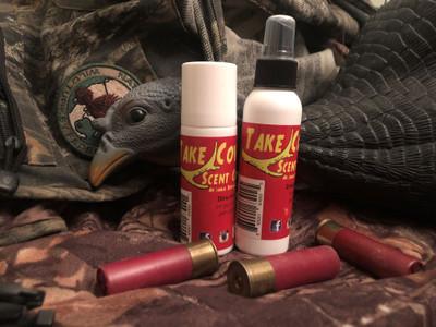 TakeCover scent eliminator just as vital on every spring turkey hunt.  BOGO 1- 3 oz spray bottle              1- 4 oz roll on bottle