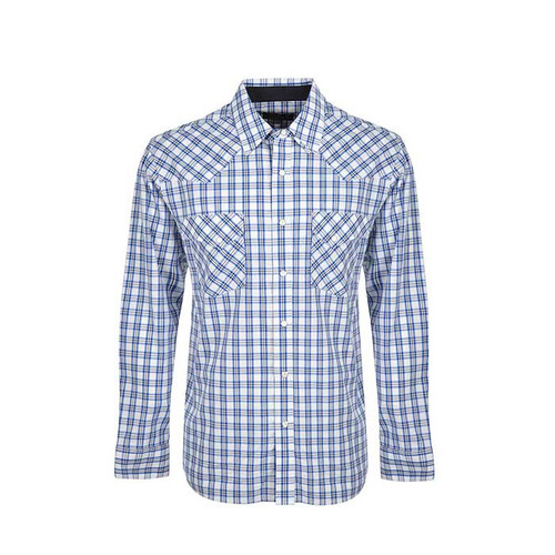 MENS HENDERSON CHECK L/S SHIRT IN MID BLUE