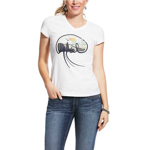 ARIAT WMS REAL HIGHWAY SS TEE WHITE