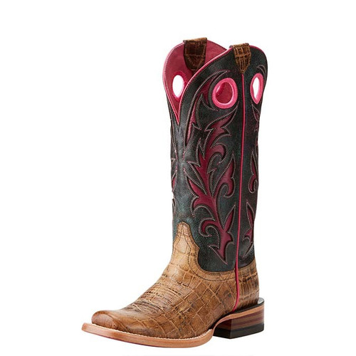 Ariat Chute Out Womens Boots Tan Croc/Crackled Teagenta