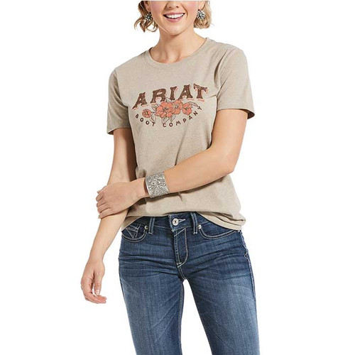 Ariat Roses and Thorns SS T Shirt Oatmeal Heather