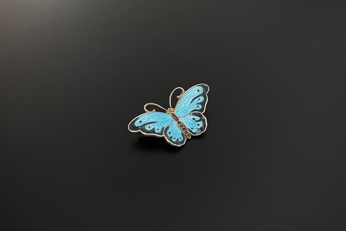 A Lovely Norwegian Enamel and Sterling Silver Gilt Brooch Turquoise and black enamel wings and brown body Sterling silver gilt Dimensions: 32mm x 18mm