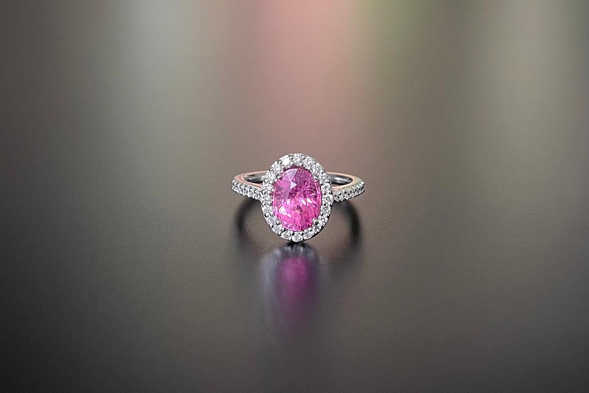 A Pretty Rubellite and Diamond Ring