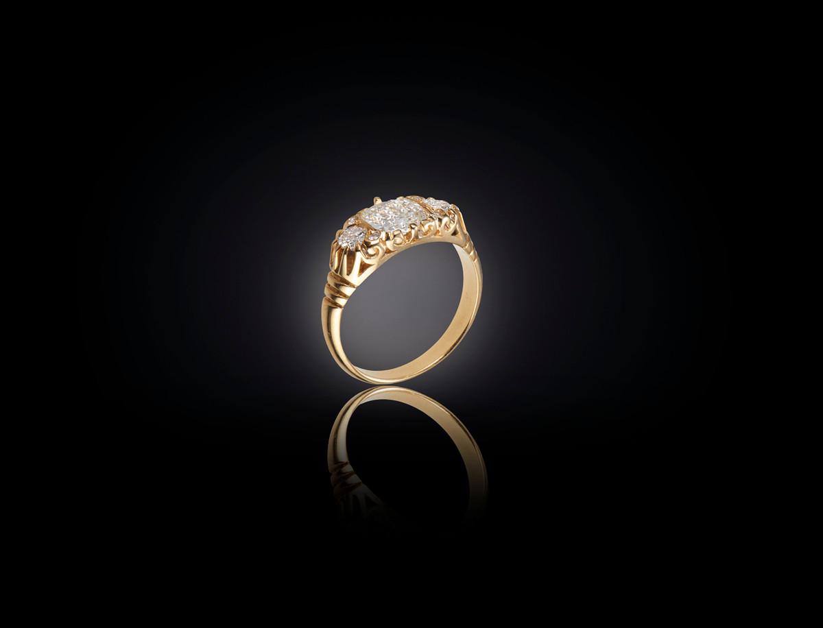 Diamond Carved Half Hoop Ring