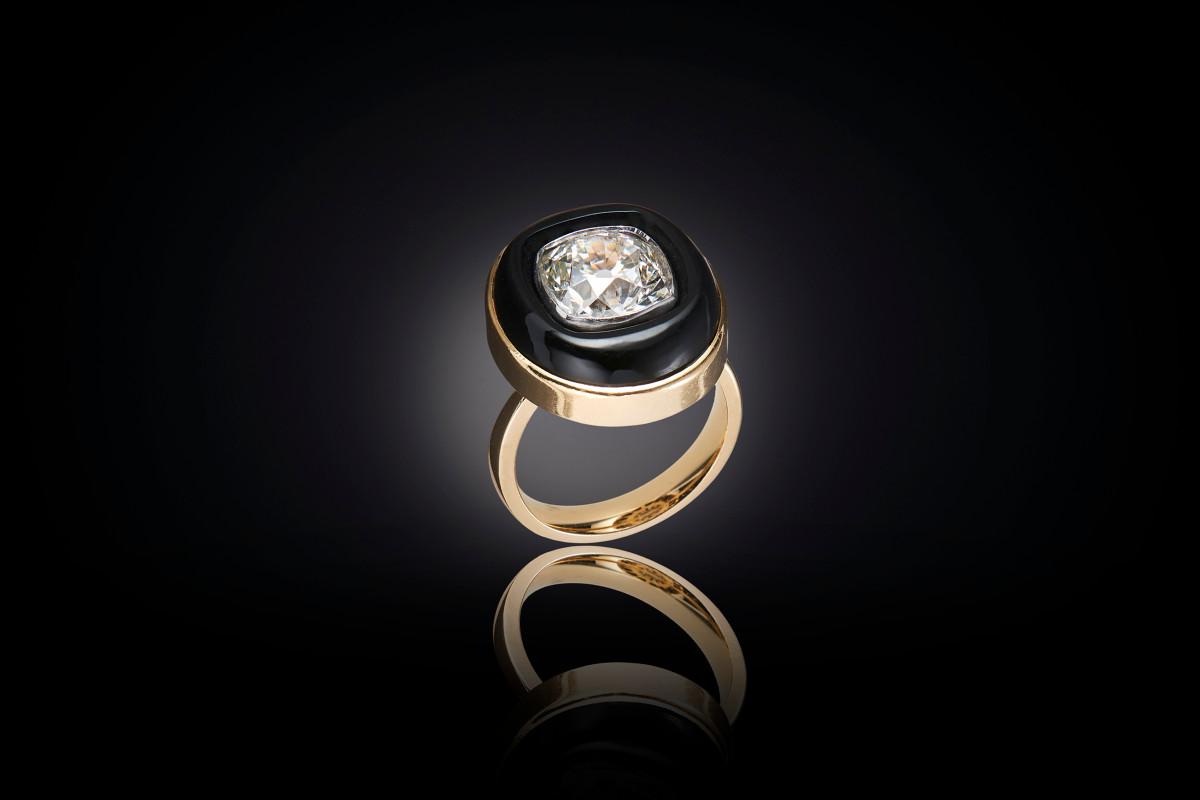 Kozminsky onyx and diamond ring