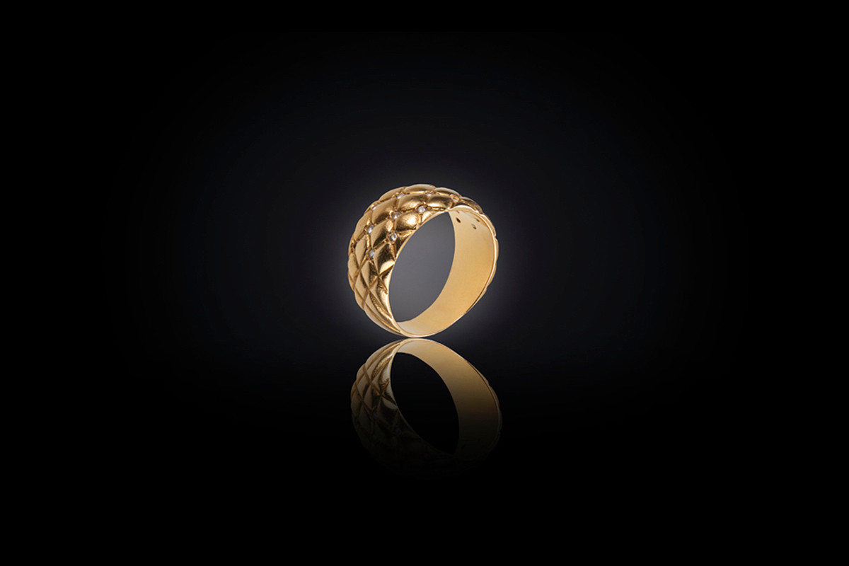 Gold and Diamond Quilted Ring