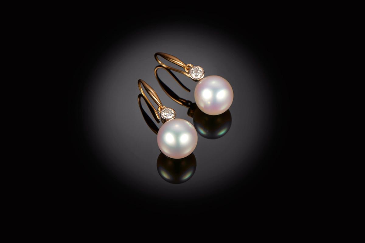 South Sea Pearl and Diamond Earrings.