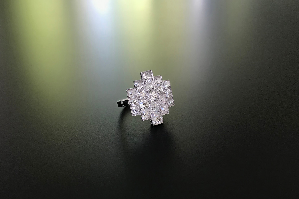 Art Deco Diamond Star Burst Ring.