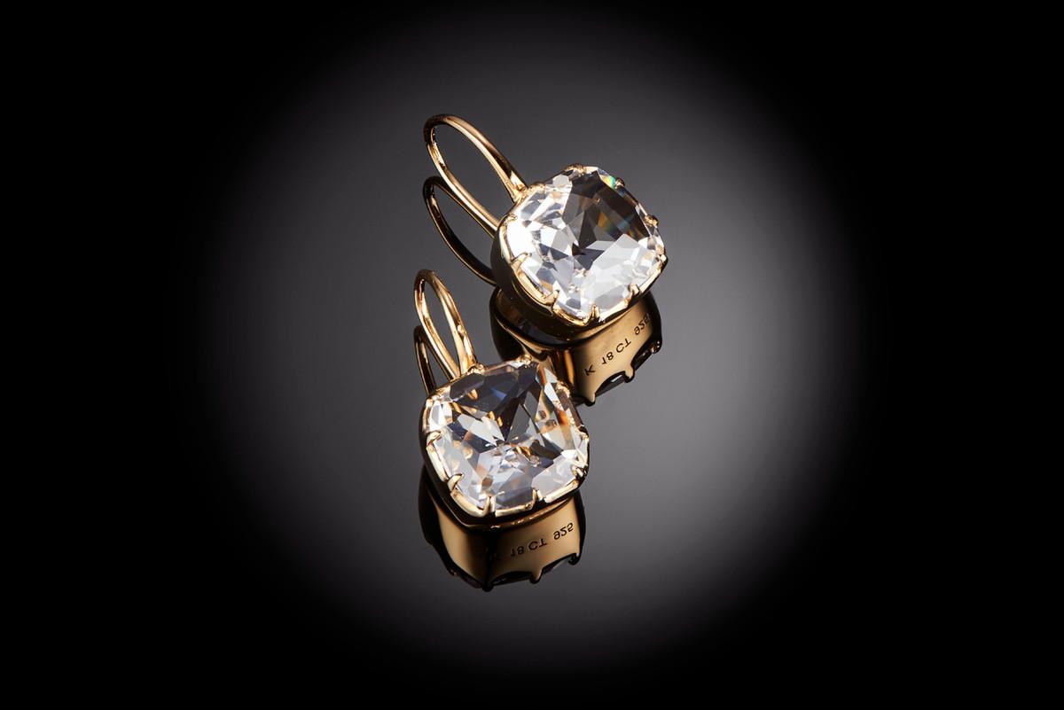 Kozminsky Small Single Drop Rock Crystal Earrings. Silver Gilt.