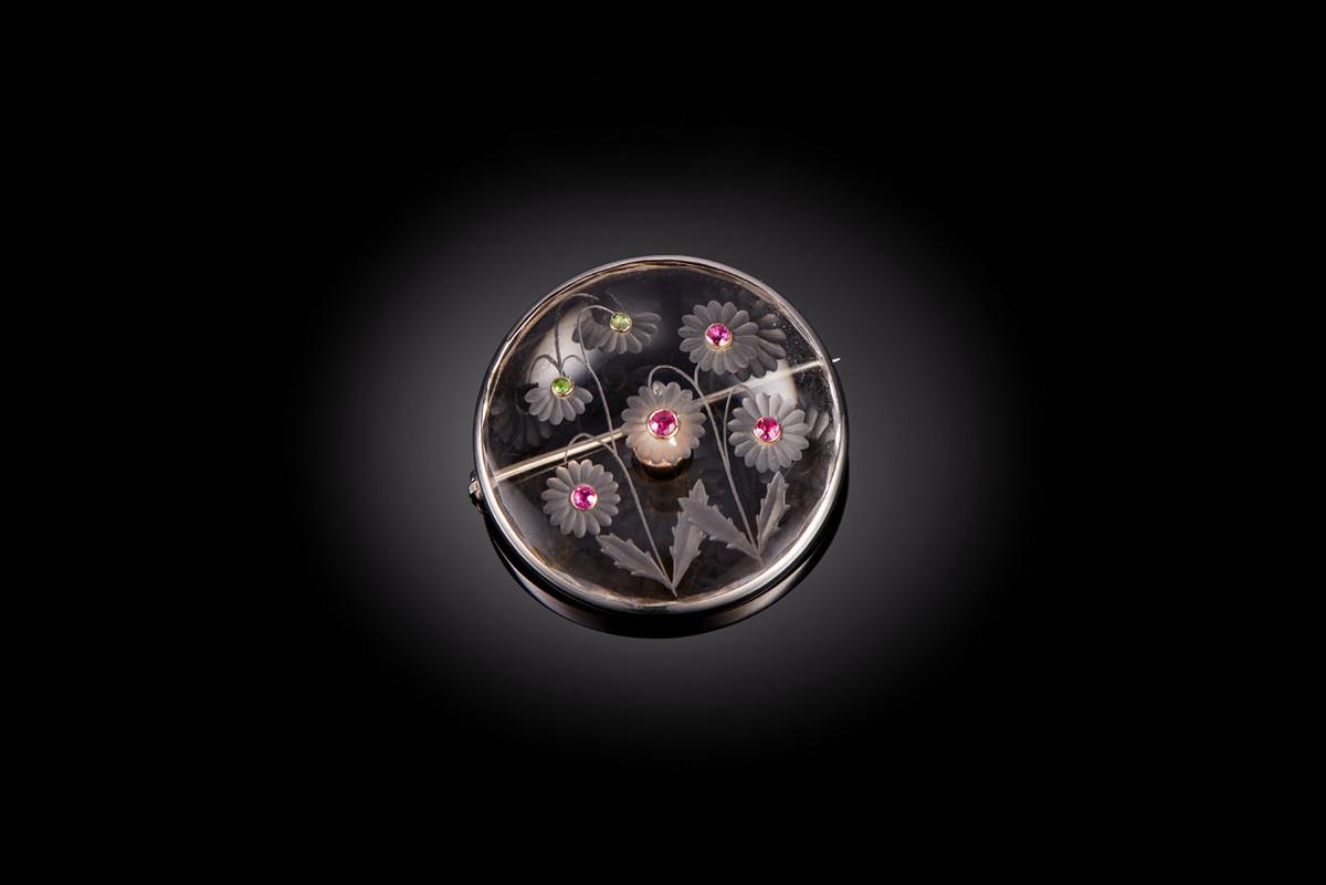 Russian Rock Crystal, Demantoid Garnet and Ruby Brooch